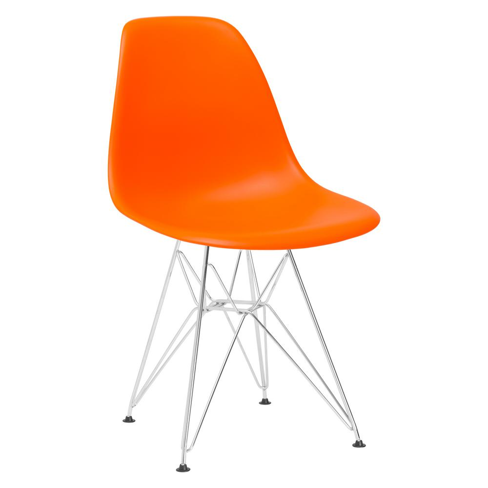 orange side chair dining leather seat replacement poly and bark padget chrome em 104 crm ora