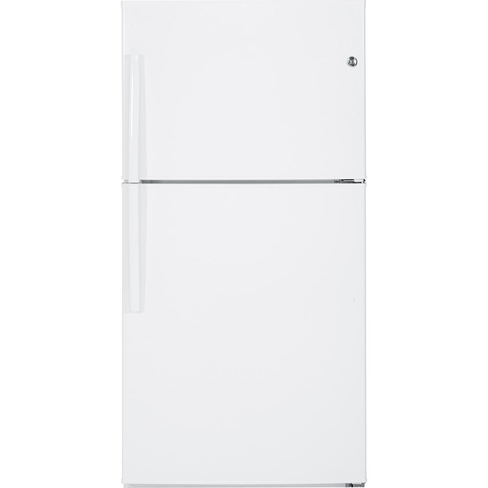 medium resolution of ge 21 1 cu ft top freezer refrigerator in white