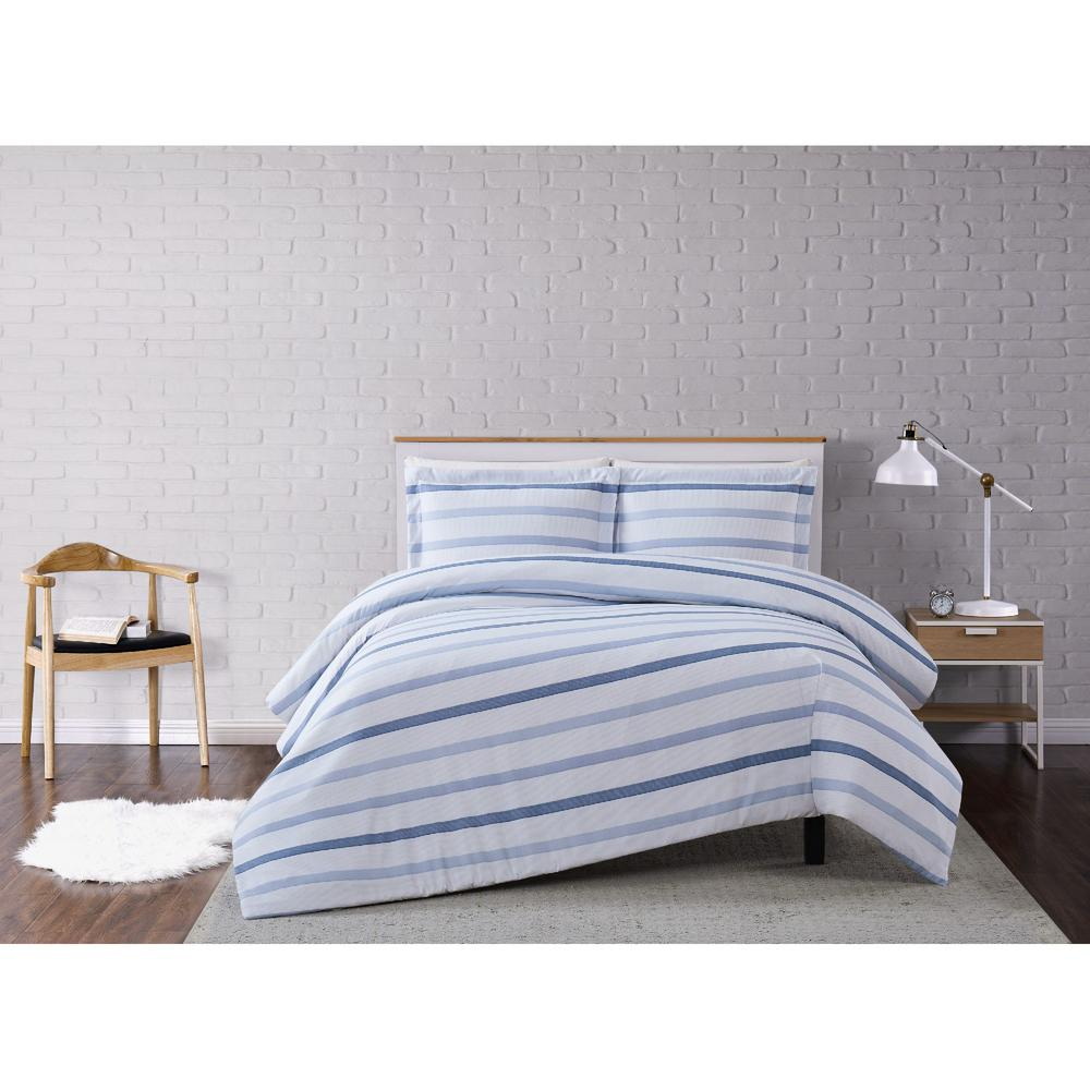 Truly Soft Waffle Stripe Twin Xl 2 Piece White Blue Duvet Cover Set Dcs3228txl 1800 The Home Depot