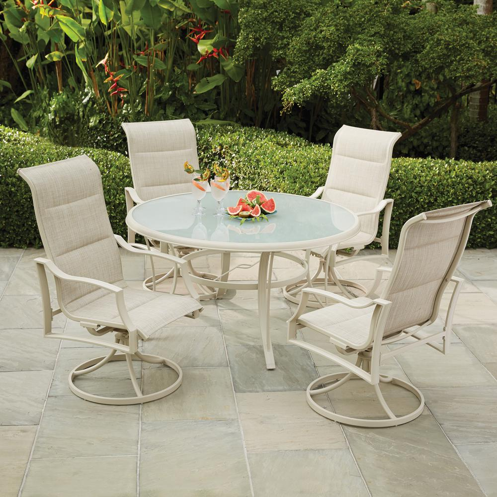 patio chairs for cheap dining room with caramel leather furniture the home depot statesville shell 5 piece aluminum outdoor set