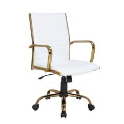 Office Chair Gold Wedding Covers Derry Lumisource Master With White Faux Leather Adjustable