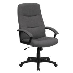 Office Chair Fabric Wing Slip Cover Flash Furniture High Back Gray Executive Swivel