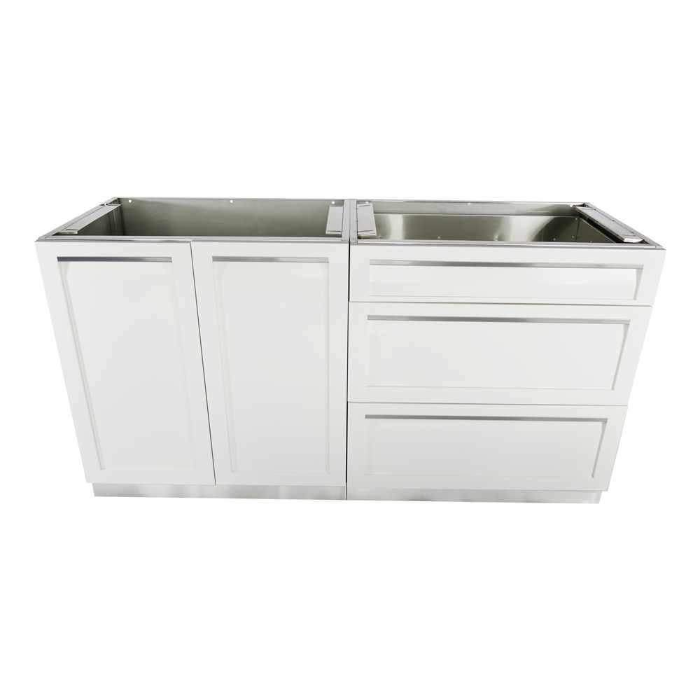 kitchen cabinet set runner mat 4 life outdoor stainless steel 2 piece 64x35x22 5 in with powder coated doors white
