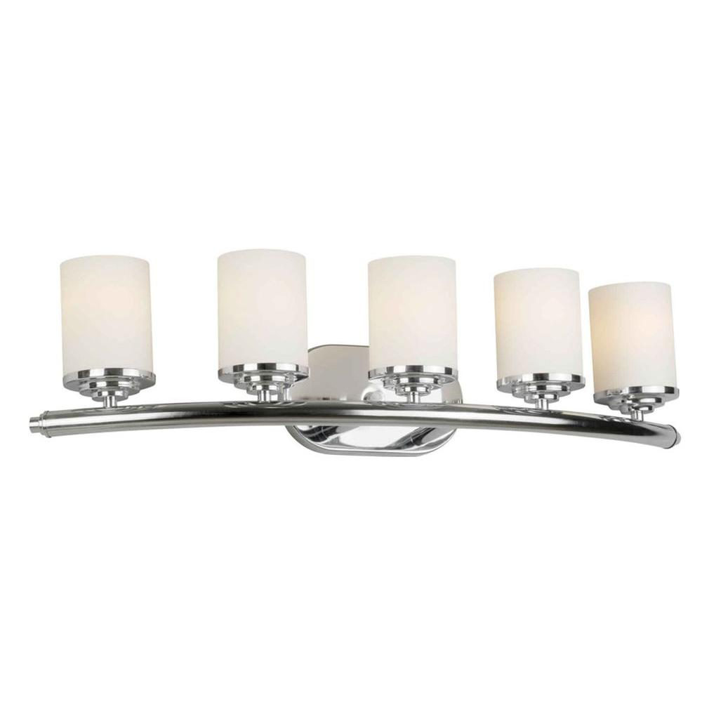 Forte Lighting 5 Light Chrome Bath Vanity Light With Satin Opal Glass Shade 5105 05 05 The Home Depot