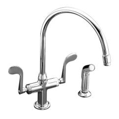 Kohler Kitchen Sink Faucets Playsets For Kids Essex 2 Handle Standard Faucet With Side Sprayer In Polished Chrome