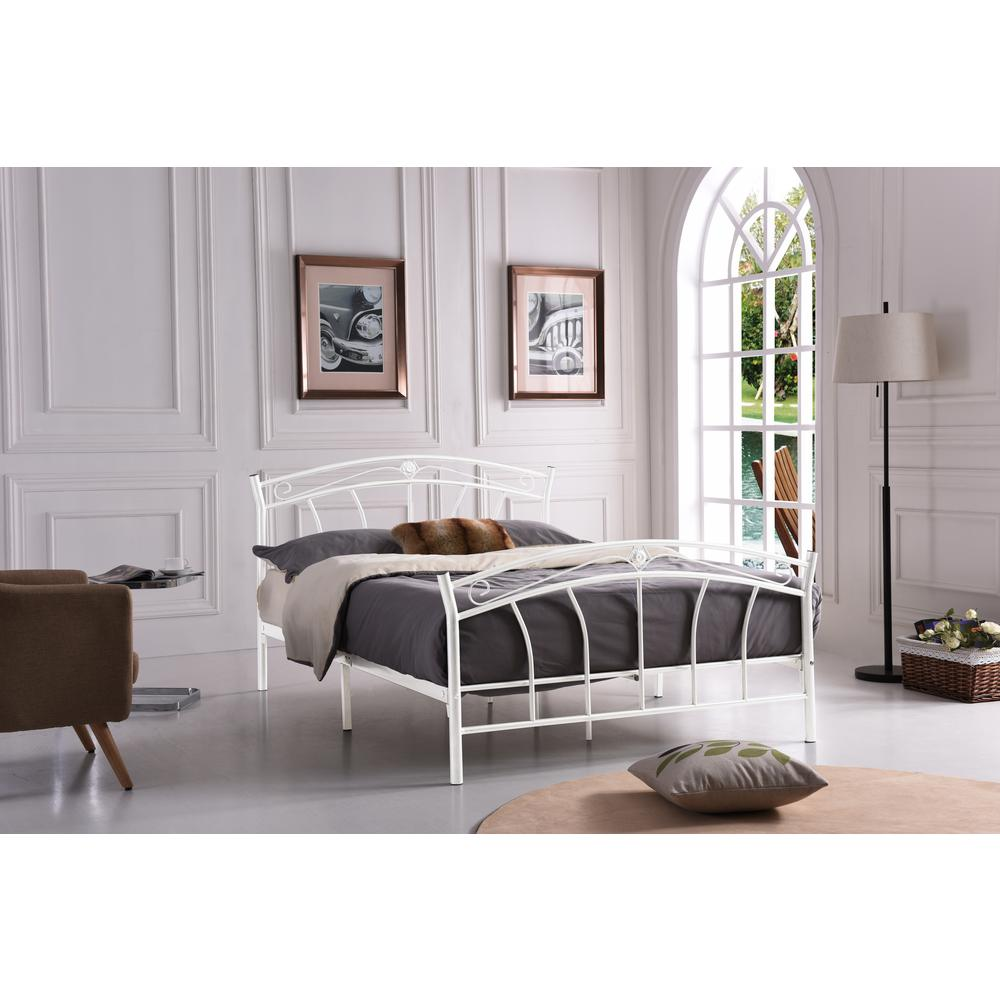 hodedah white queen size metal panel bed with headboard and footboard hi816 q white the home depot
