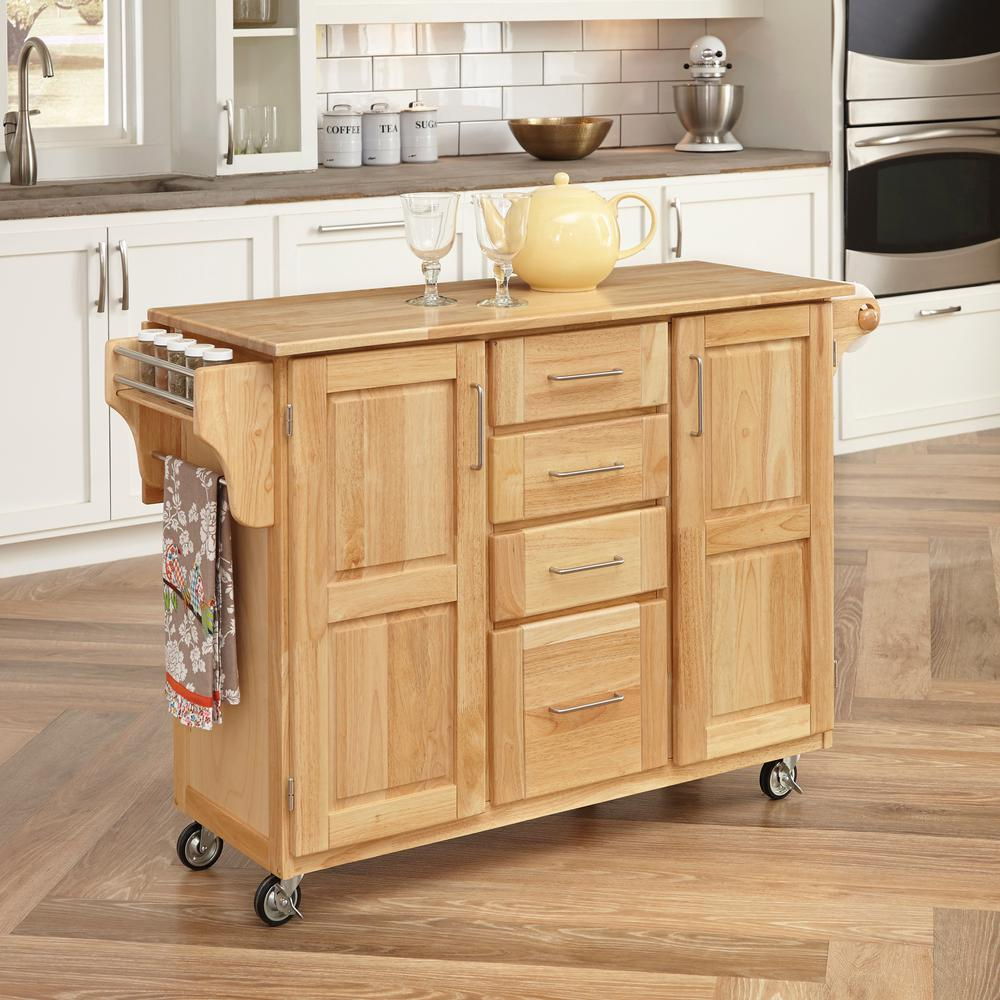 Home Styles Natural Kitchen Cart With Storage508995