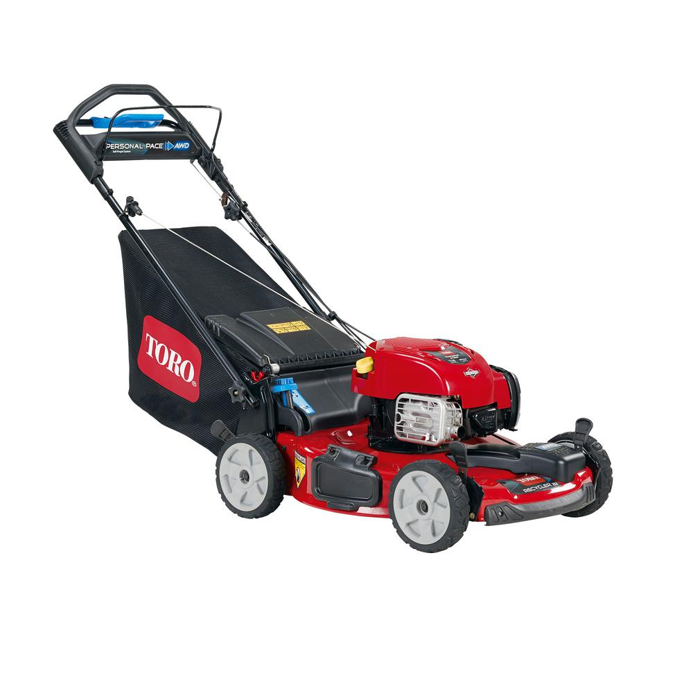 medium resolution of all wheel drive personal pace variable speed gas self propelled mower with briggs stratton engine
