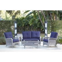 Cosco Lakewood Ranch 4-piece Gray Resin Wicker Patio