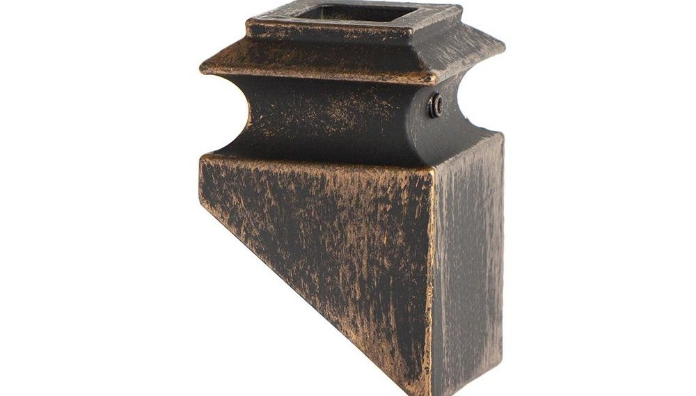 House Of Forgings Oil Rubbed Bronze 34 3 2 Angled Base Shoes For 3 | Iron Spindles Home Depot | Ole Iron Slides | Wm Coffman | Stair Parts | Oil Rubbed | Deck