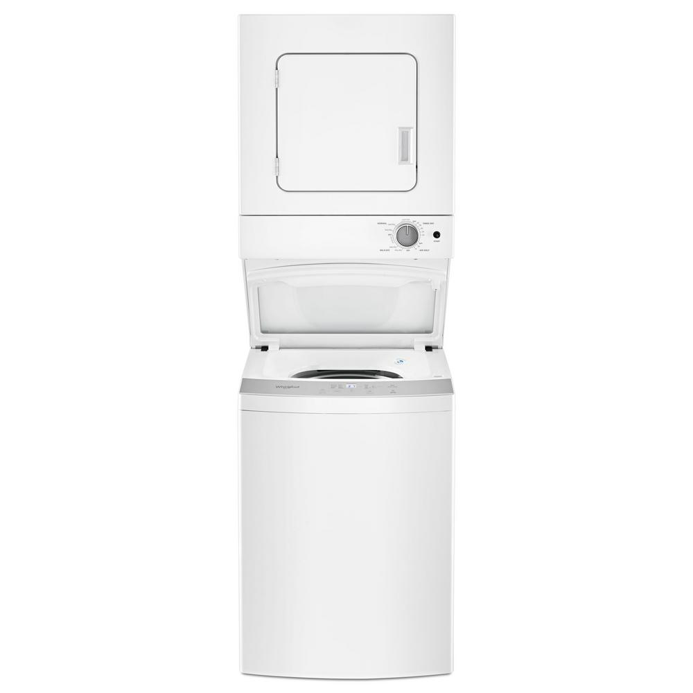 hight resolution of whirlpool 1 6 cu ft stacked washer and electric dryer with 6 wash cycles and