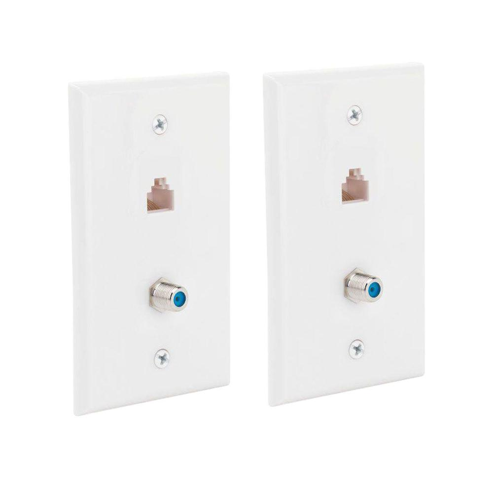 hight resolution of commercial electric 2 gang network and coax wall plate 2 pack