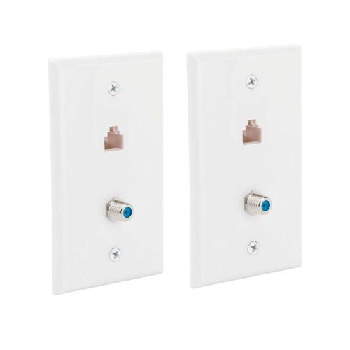 small resolution of commercial electric 2 gang network and coax wall plate 2 pack