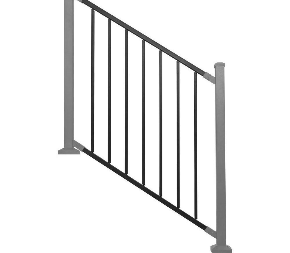 Railing Panel Black Metal Stair Rdi Common 8 Ft X 32 In | Indoor Stair Railings Home Depot | Metal | Interior | Deck Stair | Aluminum Railing | Iron Stair
