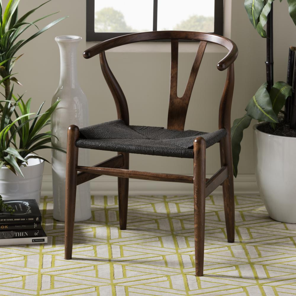 Wishbone Dining Chair Baxton Studio Wishbone Mid Century 2 Piece Dark Brown And Black Wood Chair Set