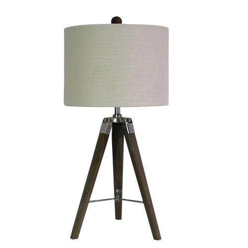 small resolution of tripod table lamp in weathered grey wood and polished nickel metal