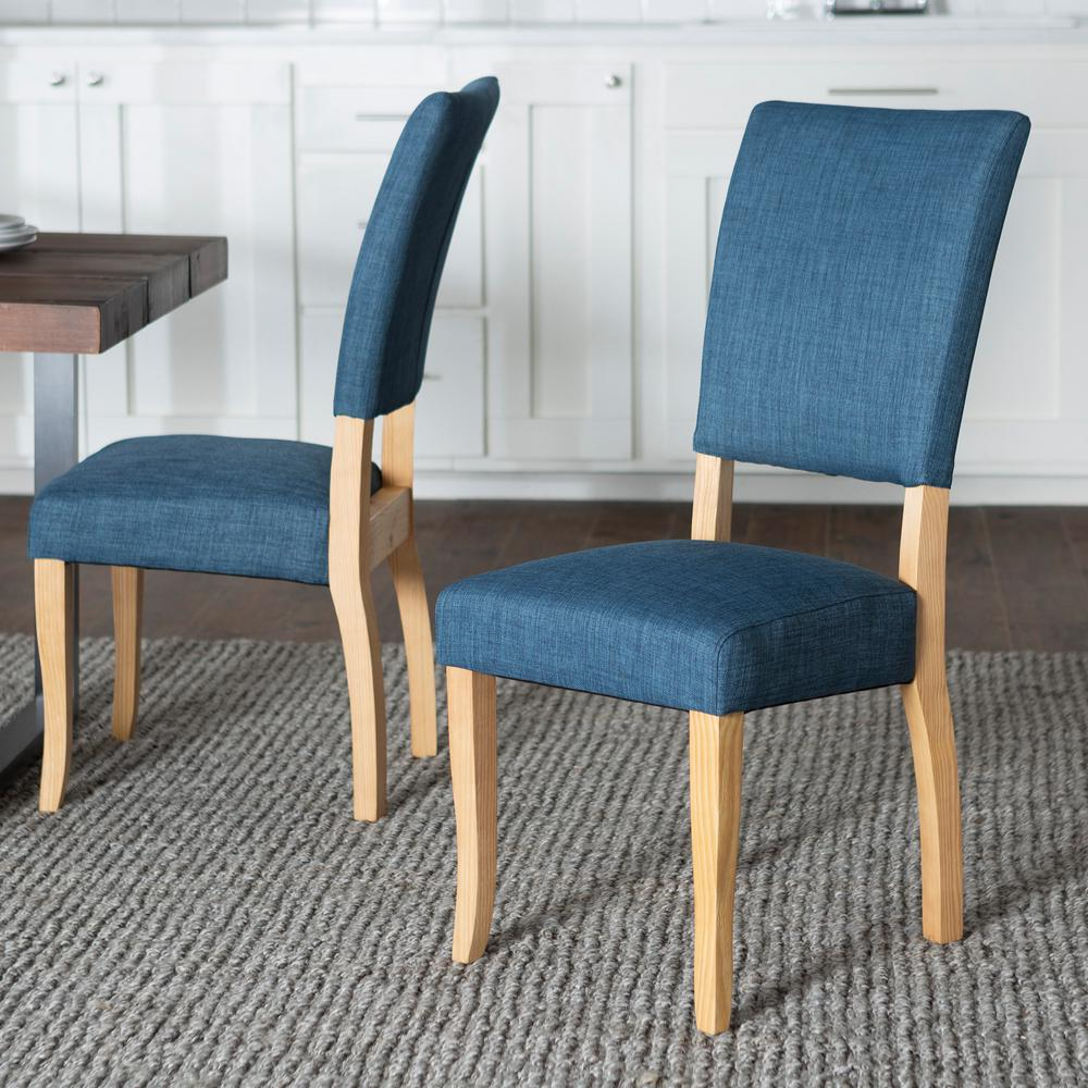 Blue Dining Chairs Walker Edison Furniture Company Open Back Blue Parsons Dining