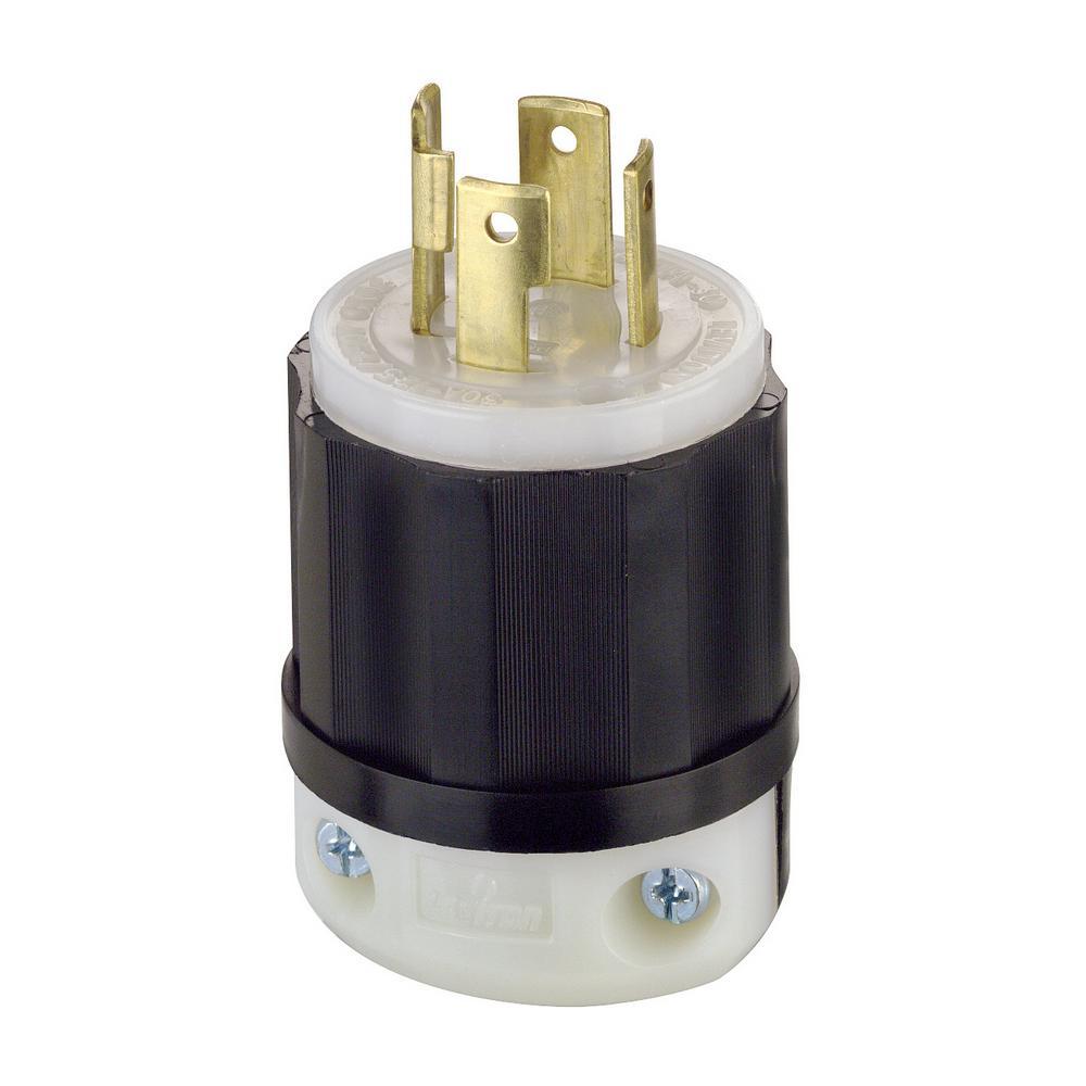 medium resolution of leviton 30 amp 125 250 volt locking grounding plug black white