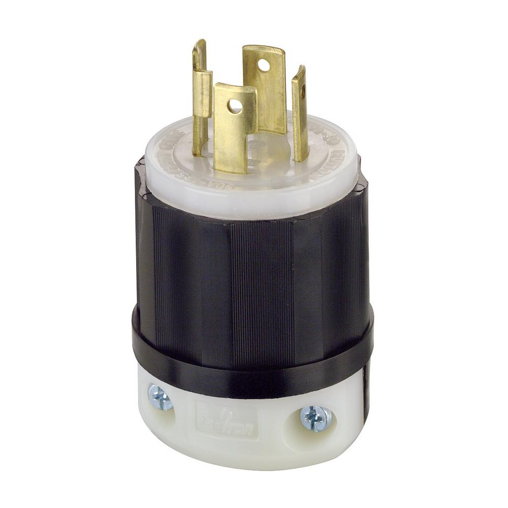 hight resolution of leviton 30 amp 125 250 volt locking grounding plug black white