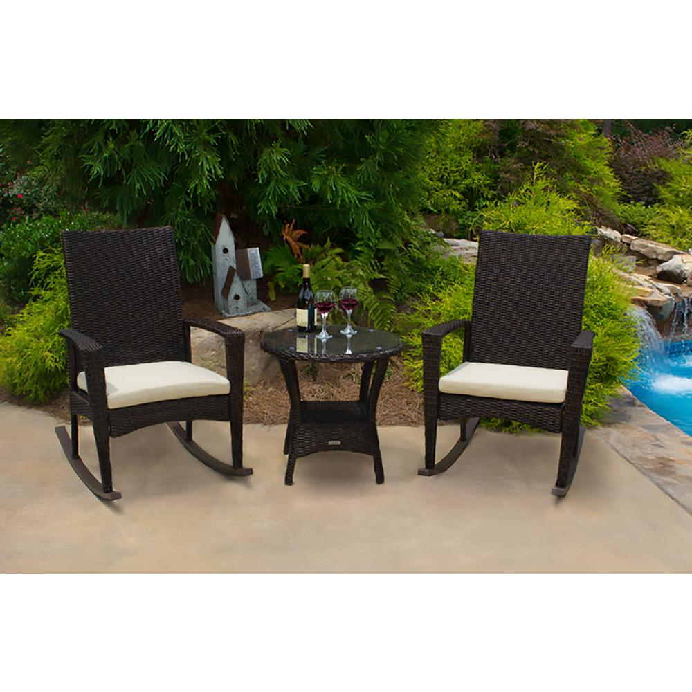 Outdoor Rocking Chair Set Tortuga Outdoor Bayview Pecan 3 Piece Wicker Outdoor Rocking Chair Set With Tan Cushion