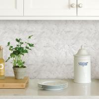 WallPOPs White Herringbone Carrara Peel Stick Backsplash ...