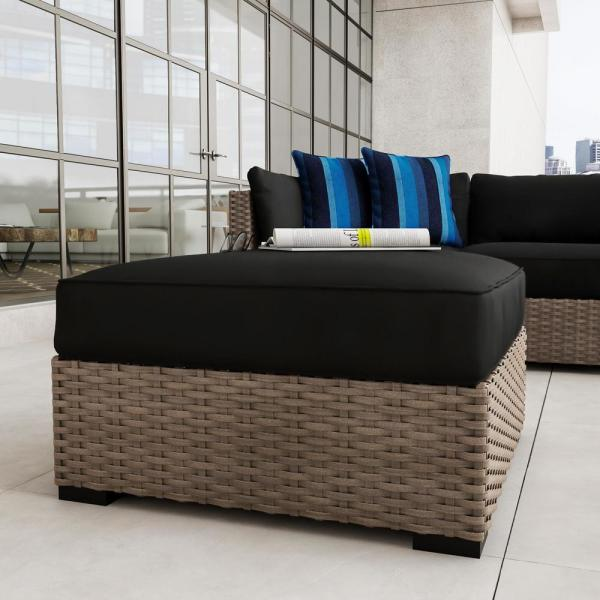 rattan ottoman with outdoor fabric