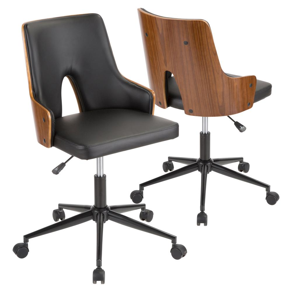 wood and leather office chair counter height chairs with backs lumisource stella walnut black faux oc stla wl bk the home depot