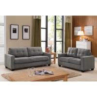 Tanya Modern 2-Piece Grey Tufted Sofa and Loveseat Set ...