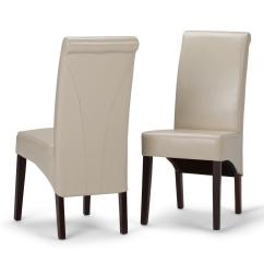 Parson Chairs Canvas Swing Chair New Zealand Simpli Home Avalon Satin Cream Faux Leather Parsons Dining Set Of 2 Ws5134 Cr The Depot