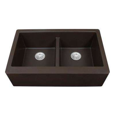 brown kitchen sink hole cover granite quartz composite sinks the home depot farmhouse apron front 34 in double bowl
