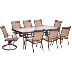 2 Chair Dining Set Fisher Price Space Saver High Mocha Butterfly Hanover Fontana 9 Piece Aluminum Outdoor With Rectangular Glass Top Table And Swivel Chairs