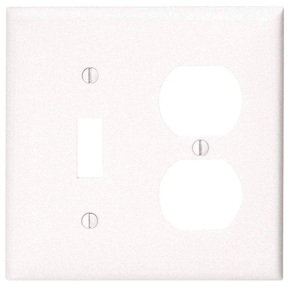 Leviton 2-Gang 1-Toggle 1-Duplex Combination Wall Plate