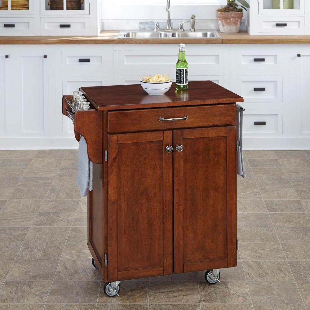 cherry kitchen cart utensil storage home styles cuisine with towel bar 9001