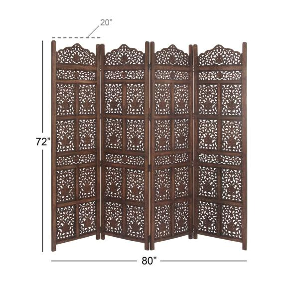 Litton Lane 80 In X 72 In Large 4 Panel Brown Wood Screen Decorative Room Divider 23782 The Home Depot