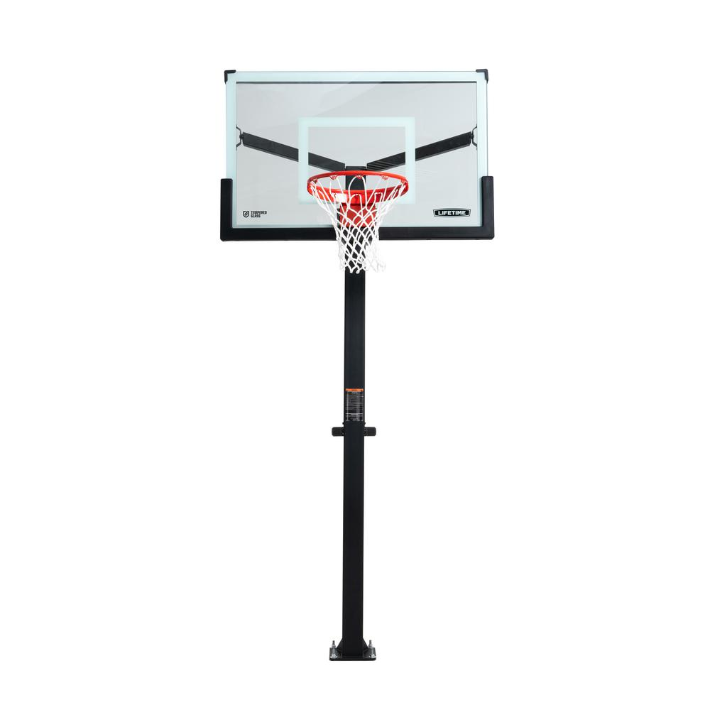 Lifetime Mammoth Bolt Down Basketball Hoop 54 In Tempered Glass 90965 The Home Depot