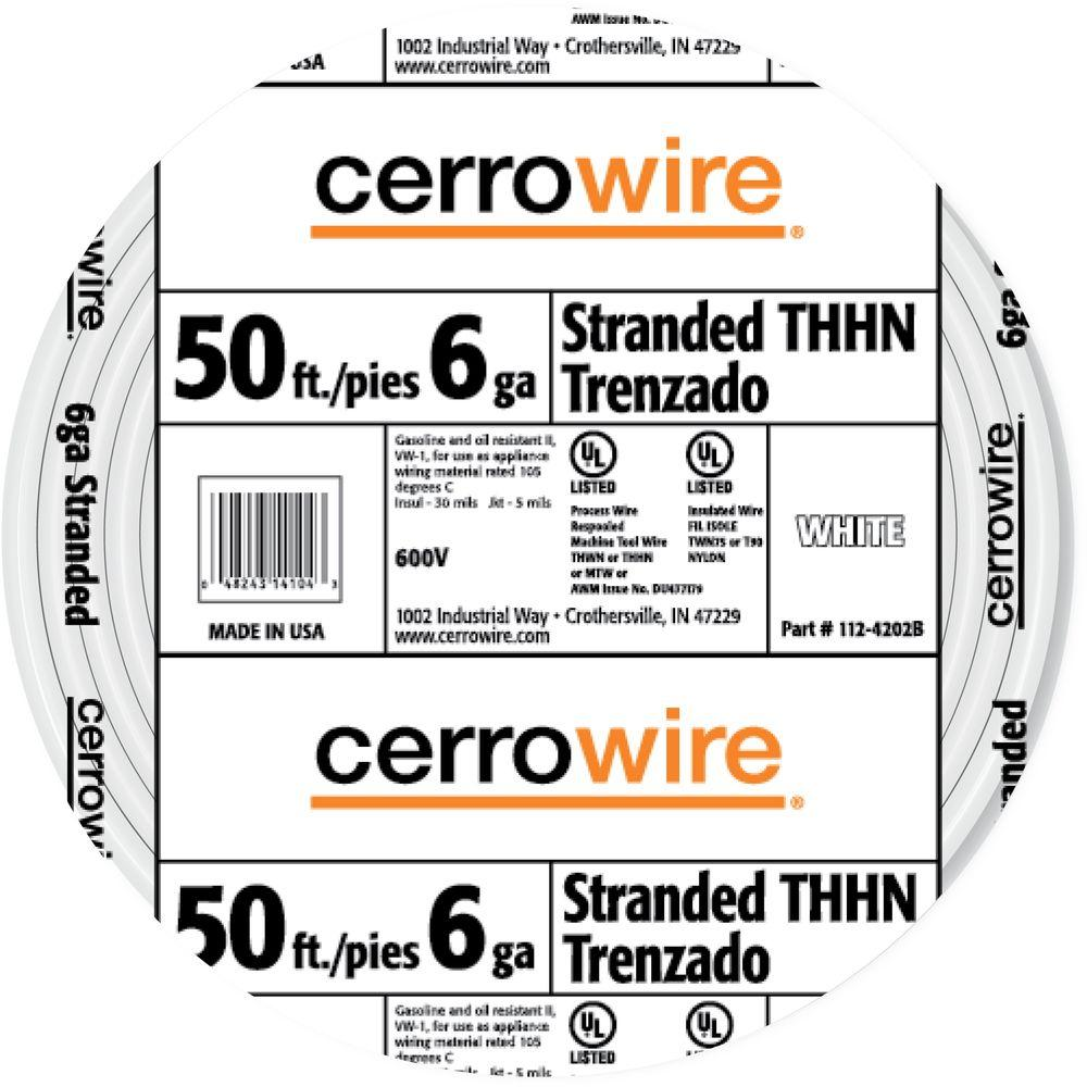 WHITE STRANDED WIRE THHN Indoor Gas Oil Resistant