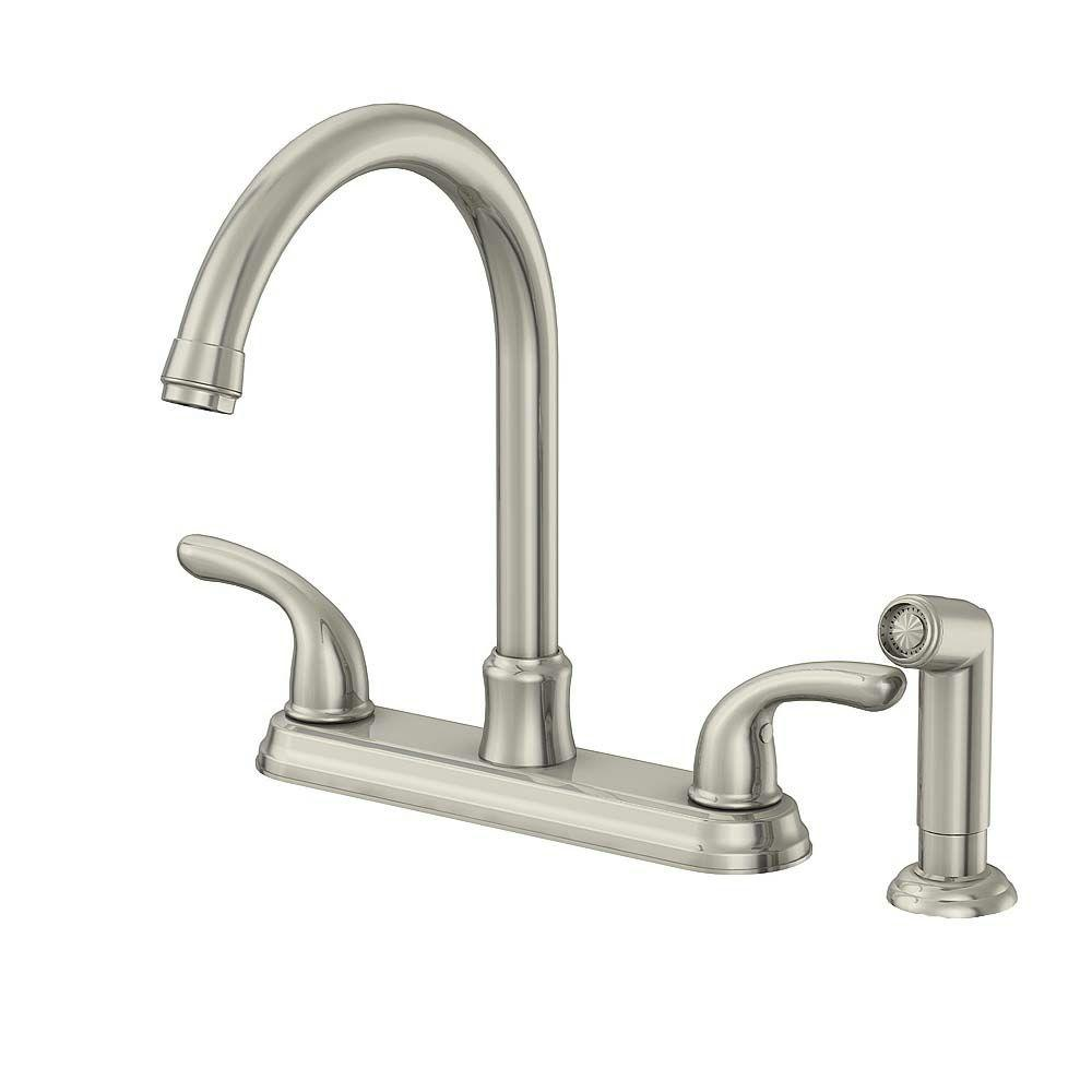 two handle kitchen faucet cabinet door replacements glacier bay builders 2 standard with sprayer in stainless steel