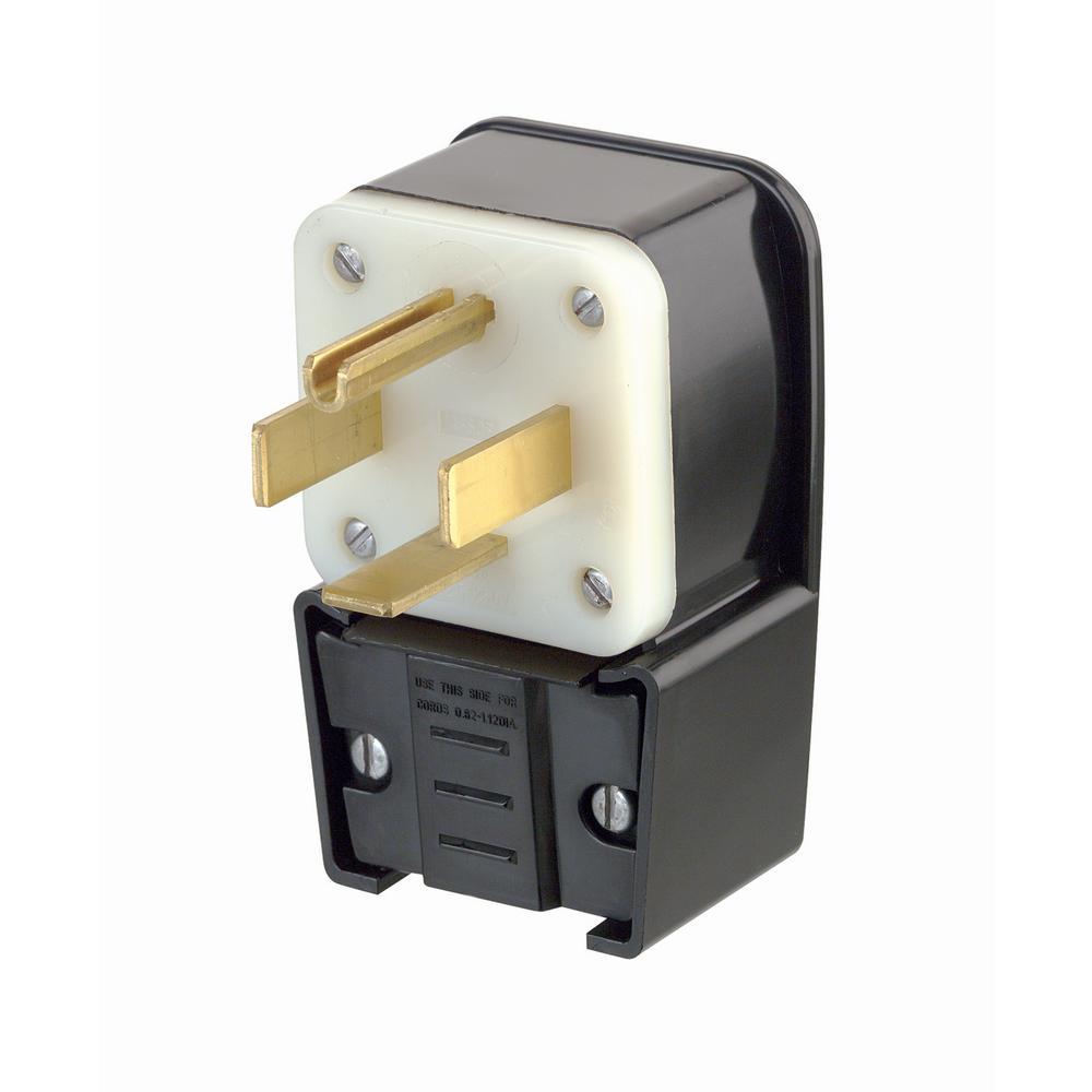 medium resolution of leviton 60 amp 125 250 volt straight blade grounding angle plug black