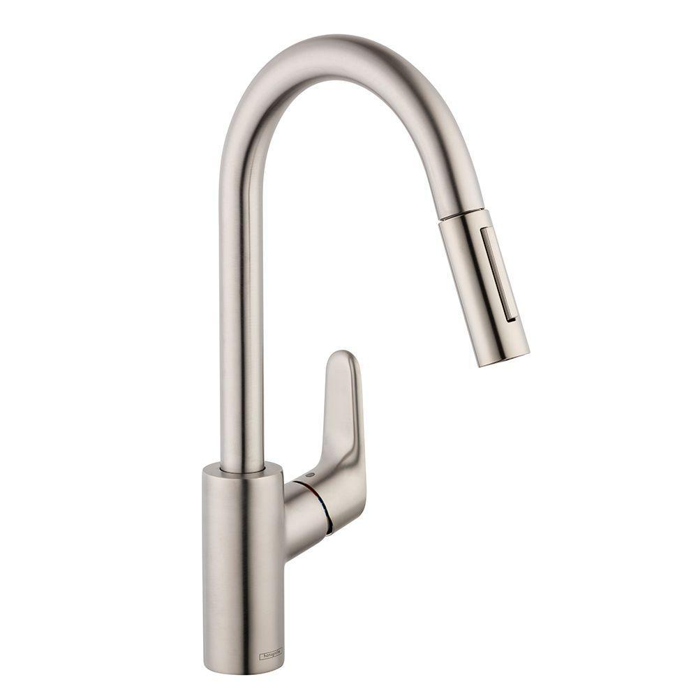 hansgrohe kitchen faucet aid range focus single handle pull down sprayer in steel optik