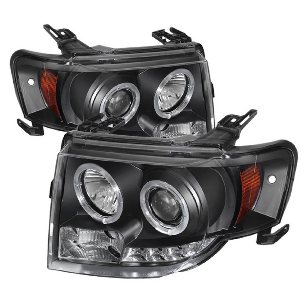 hight resolution of ford escape 08 12 projector headlights halogen model only not compatible with xenon hid model drl black