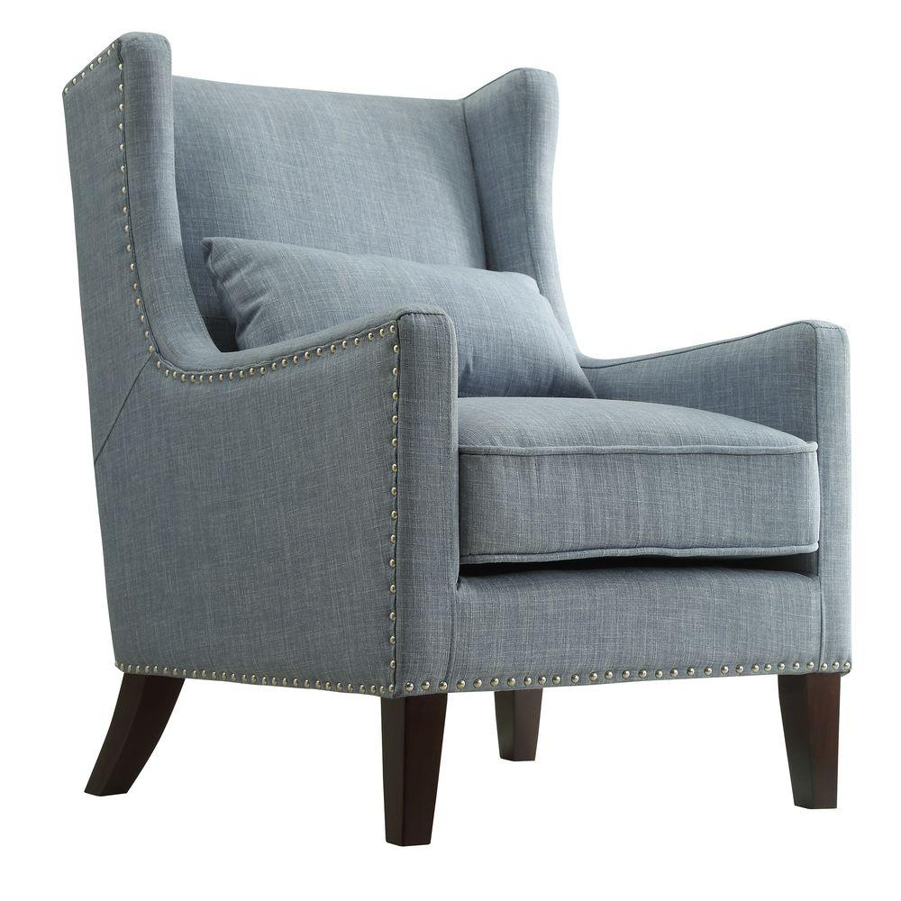 Wing Back Chairs Ashley Blue Linen Wing Back Arm Chair