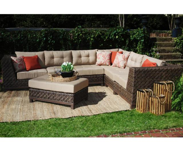 Ae Outdoor Dawson  Piece All Weather Wicker Outdoor Sectional With Tan Cushions