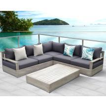 Ove Decors Beranda Gray 3-piece Wood Outdoor Sectional Set