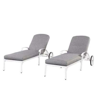 outdoor chaise lounge chairs with wheels patio chair cushions lowes cast aluminum lounges the home depot floral blossom white all weather
