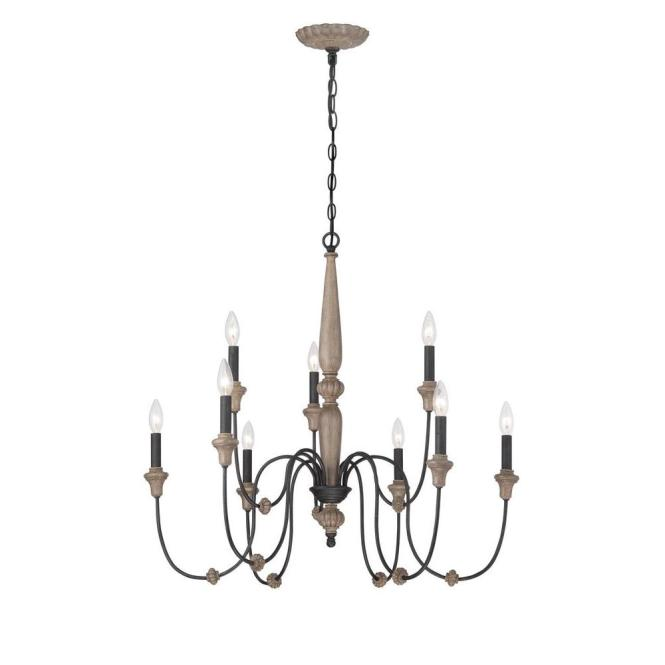 World Imports Capra 9 Light Rust Chandelier With Distressed Ivory Accents Wi974142 The Home Depot