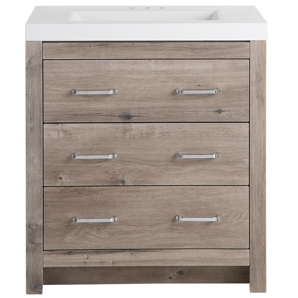 Glacier Bay Woodbrook 31 In W X 19 In D Bath Vanity In White Washed Oak With Cultured Marble Vanity Top In White With White Sink Wb30p2 Wo The Home Depot