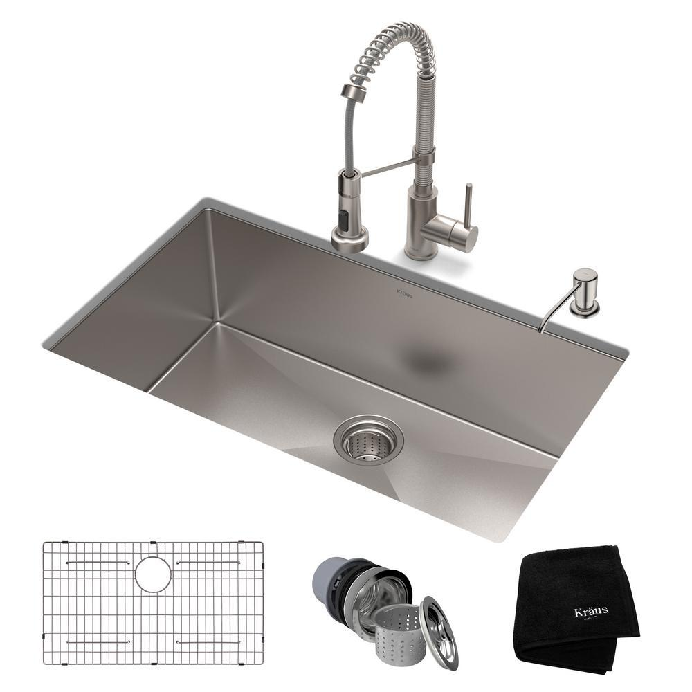 kraus kitchen sinks island pendant lighting standart pro all in one undermount stainless steel 30 single bowl sink with faucet