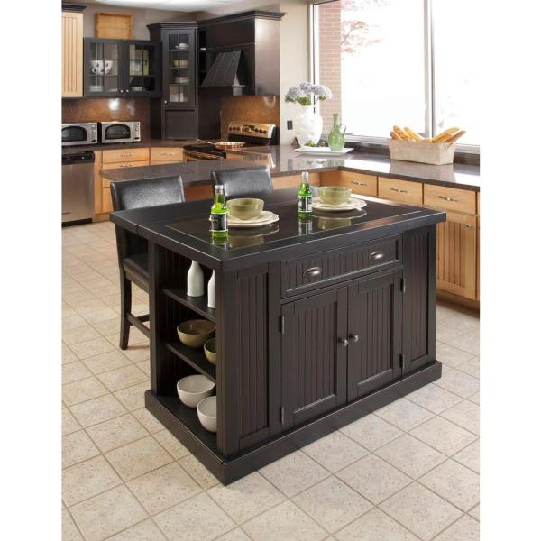 Home Styles Nantucket Black Kitchen Island With Granite Top-5033-94 - Depot