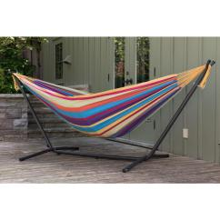 Woven Plastic Garden Chairs Lycra Chair Covers Nz Vivere 9 Ft. Double Cotton Hammock With Stand In Tropical-uhsdo9-20 - The Home Depot