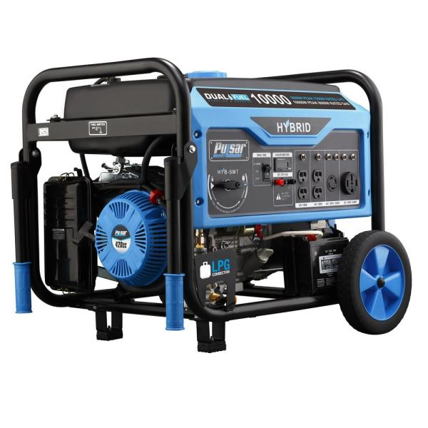 Pulsar 10 000 8 000-watt Dual Fuel Gasoline Propane Powered Electric Recoil Start Portable